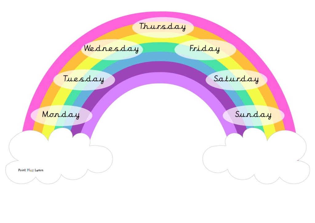days of the week mat rainbow cursive printplaylearn teaching resource