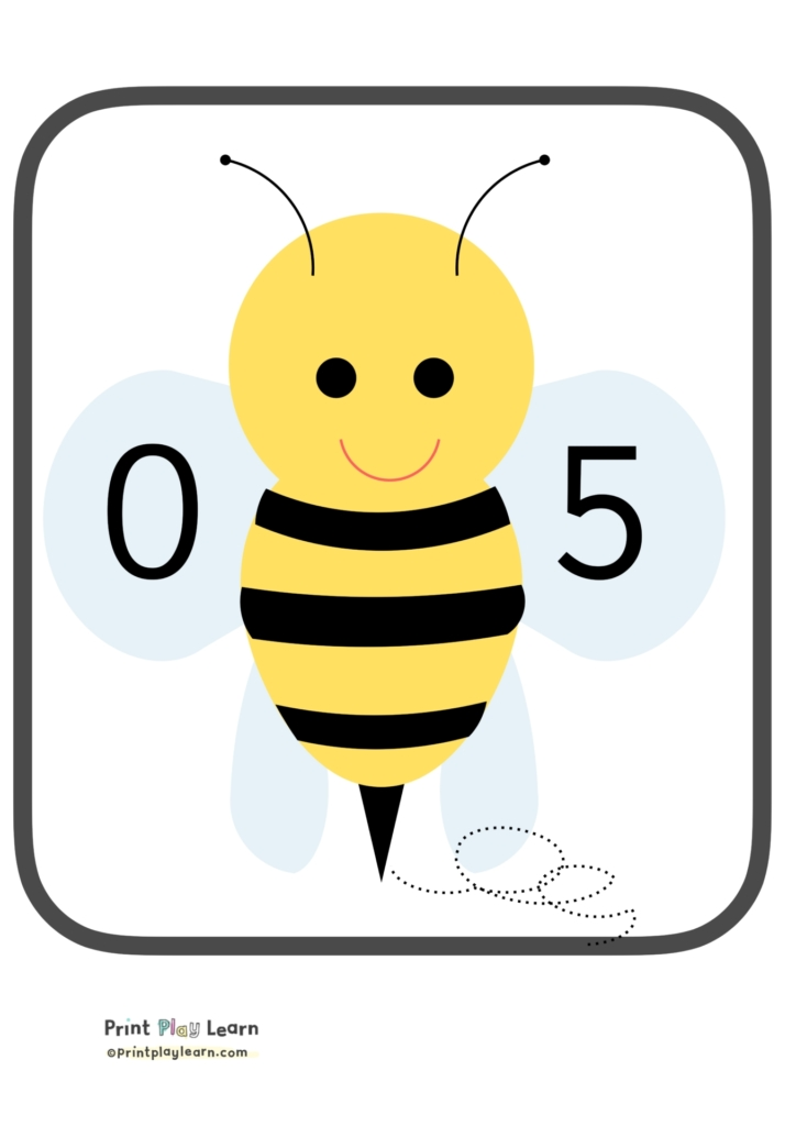 number bonds to five 5 bees printplaylearn counting posters for children