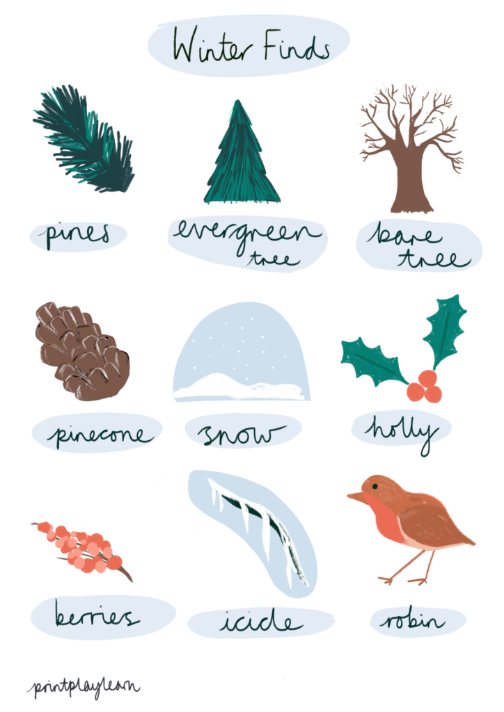 print play learn winter poster natural finds