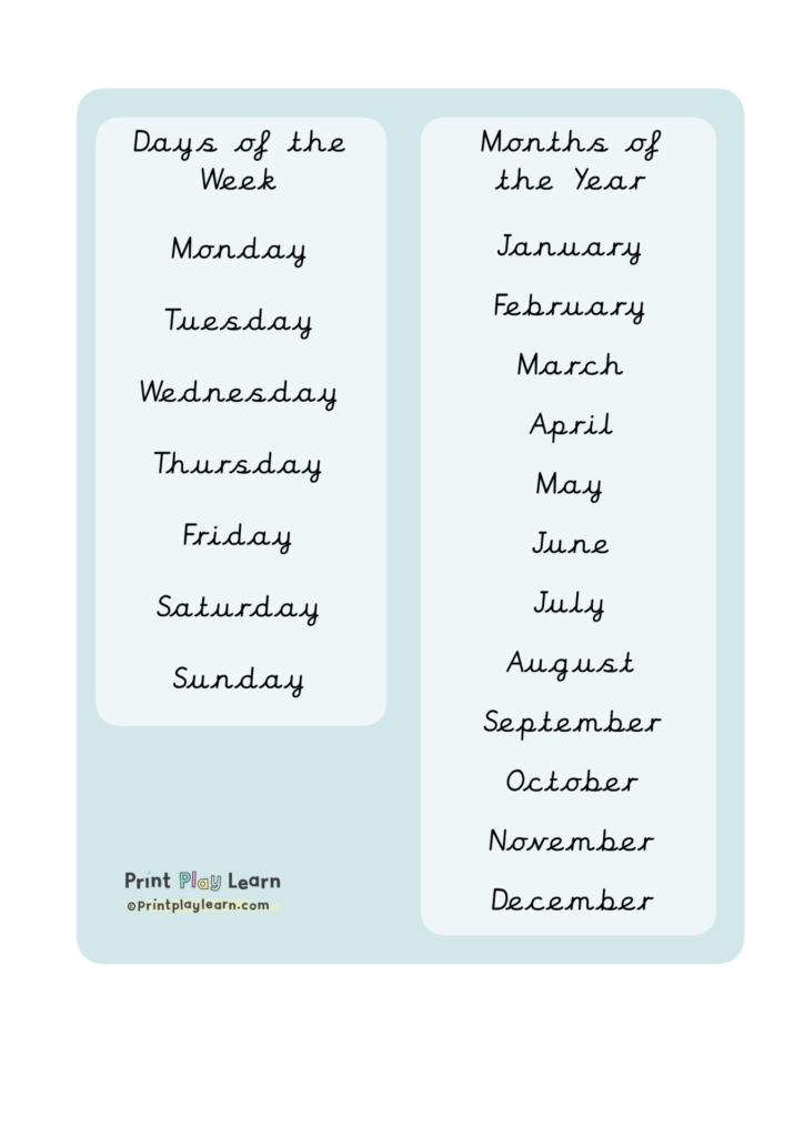 kids home learning prompts days of the week
