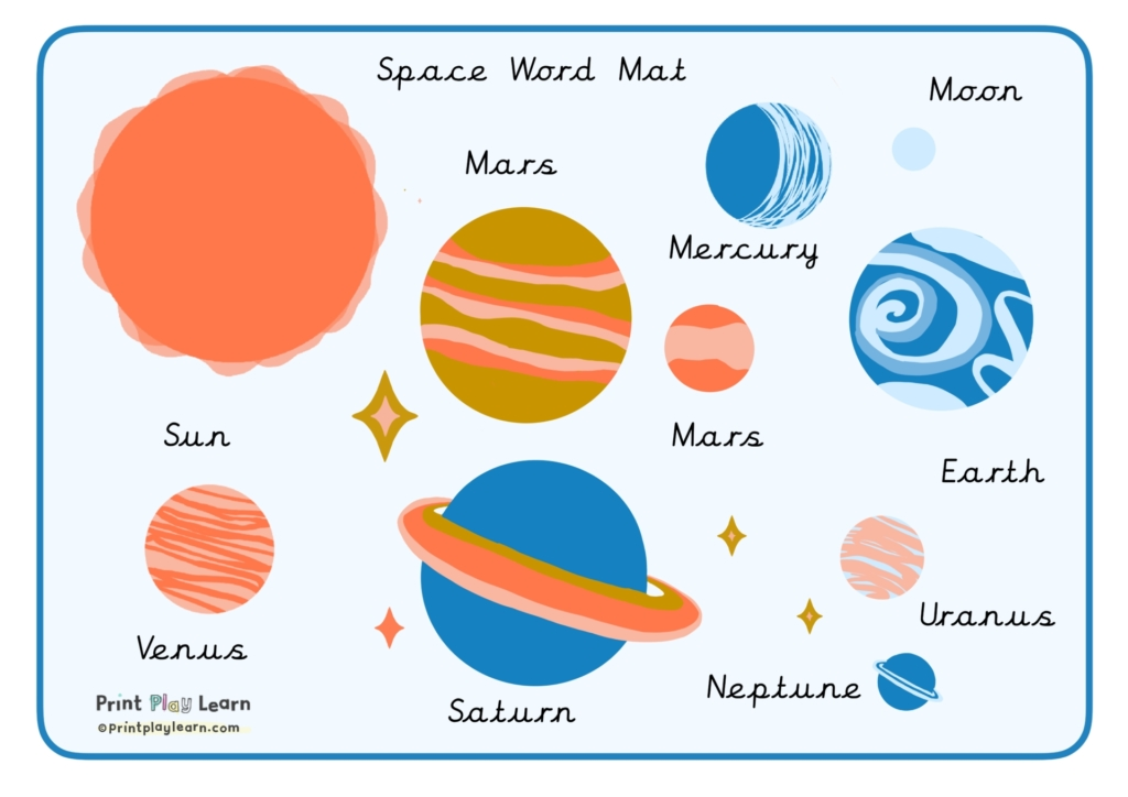 space word bank for kids home learning print play learn