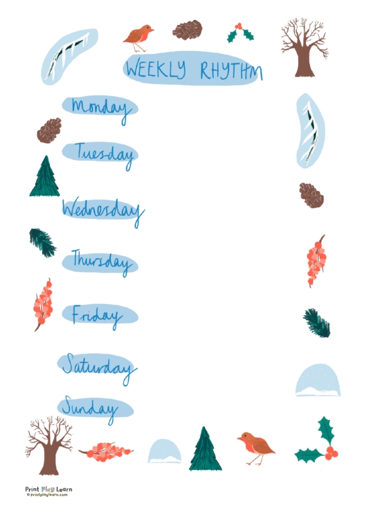 winter weekly timetable printplaylearn