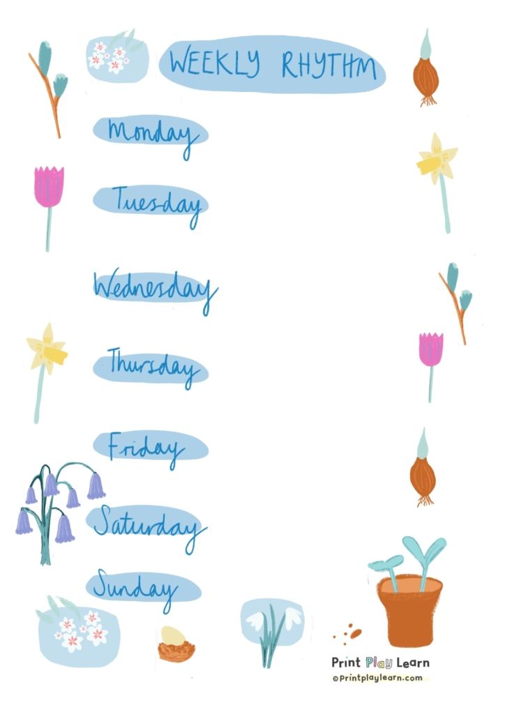 spring printplaylearn timetable for kids