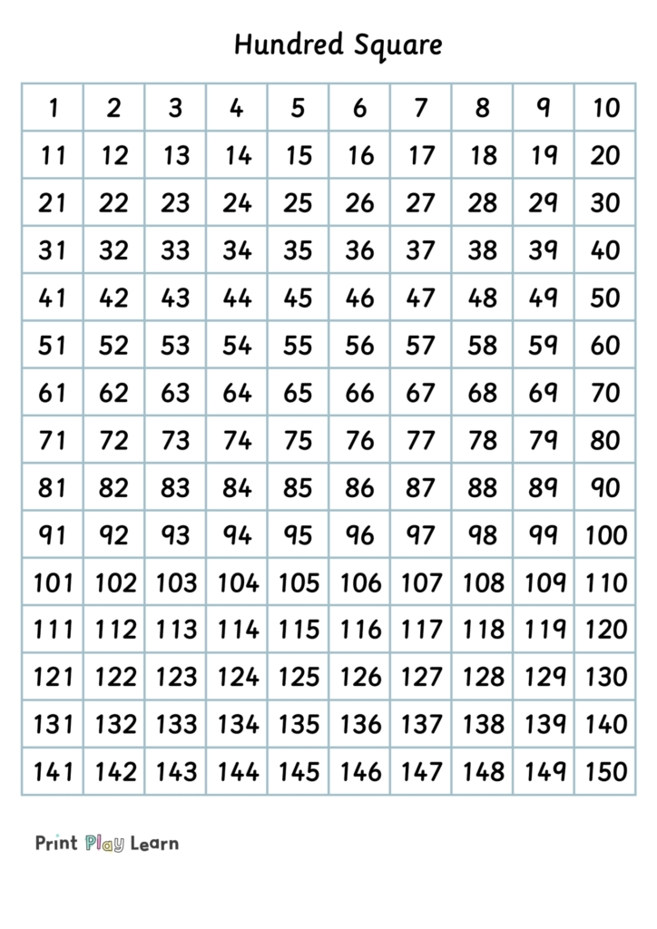 grid 1-150 numbers in square print play learn maths help