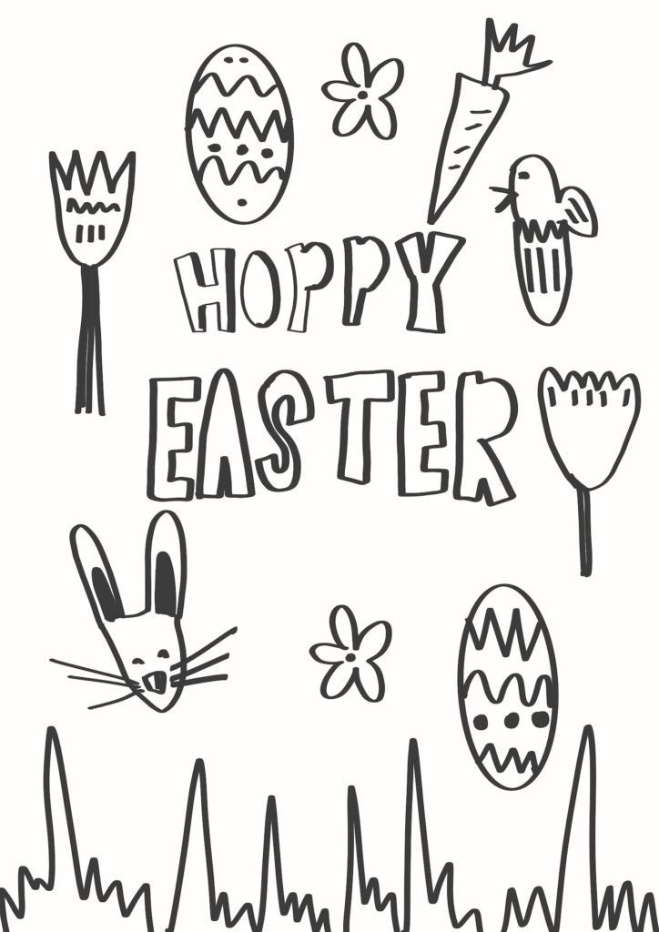 black drawing and writing print play learn hoppy easter with little drawings