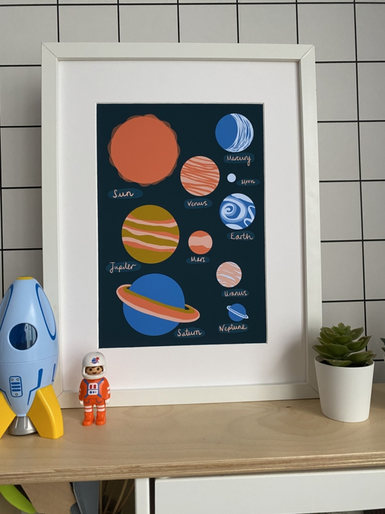 space planet art print for kids print play learn