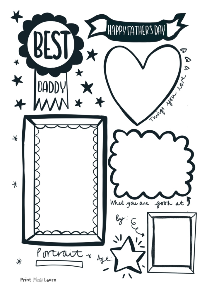 printplaylearn fathers day poster template for kids to draw things they love about their dad