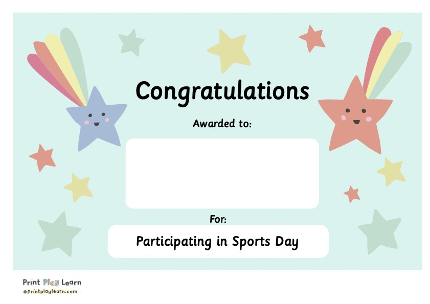 sports certificate print play learn