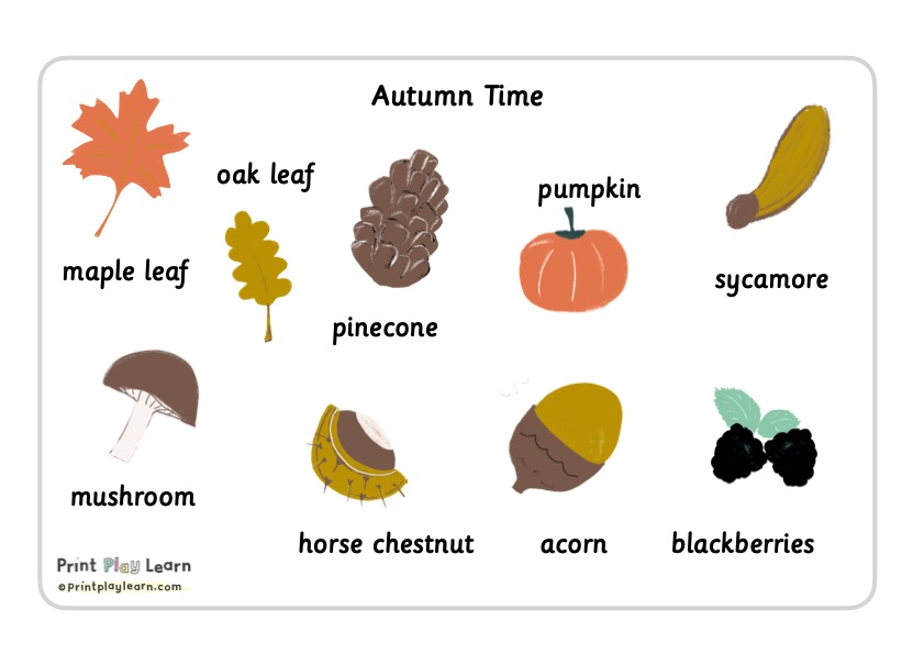 Autumn images and words Print Play Learn