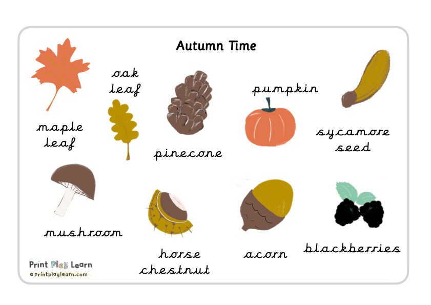 cursive font Autumn word mat
